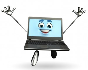 Laptop Character is happy pose